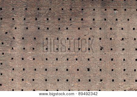 Brick Wall Of The Castello Sforzesco In Milan