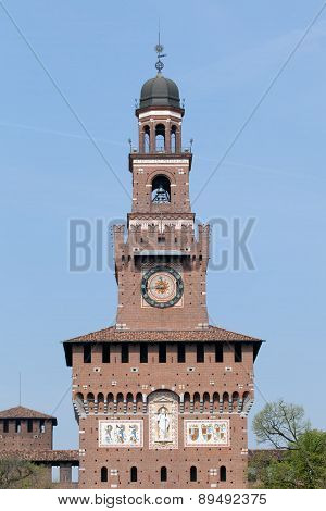 The Filarete Tower Of The Castello Sforzesco In Milan