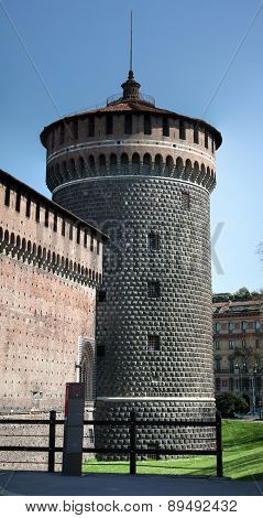 Torre Del Carmine Of The Castello Sforzesco In Milan