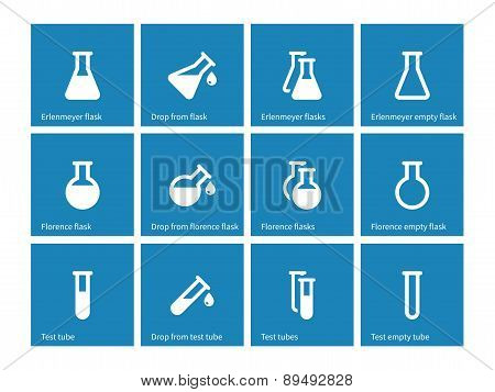 Test tube and flask icons on blue background.