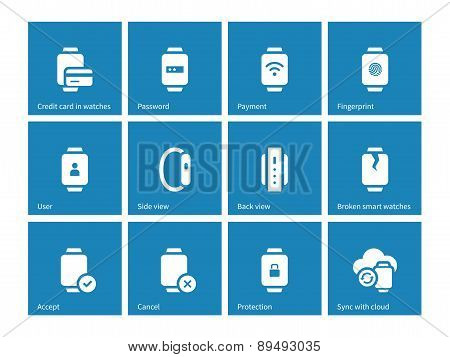 Payment with smart watch icons on blue background.