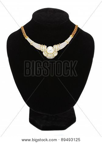 Pendant With Pearl On Black Mannequin Isolated On White