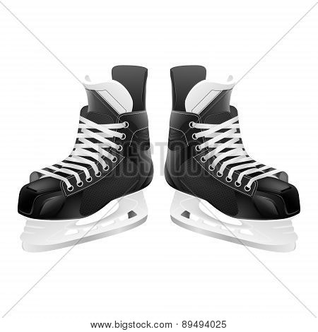 Vector Ice Hockey Skates, Isolated On White.