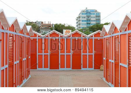 Beach changing cabins
