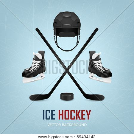 Ice Hockey Helmet, Puck, Sticks And Skates.