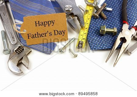 Fathers Day gift tag with tools and ties