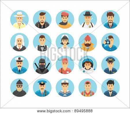 Persons icons collection. Icons set illustrating people occupations, lifestyles, nations and culture