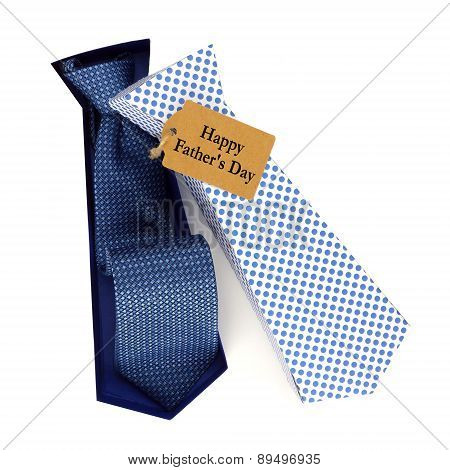 Opened Fathers Day tie shaped gift box over white
