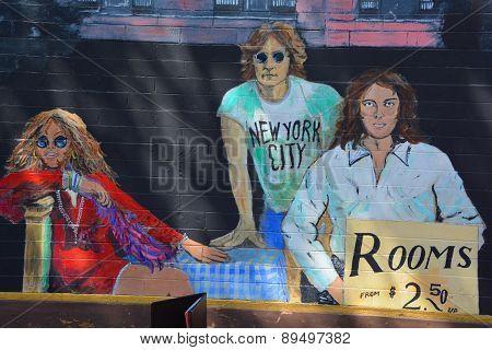Jim Morrison Janis Joplin and John Lennon mural