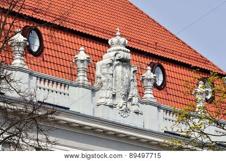 Bas-relief On The Building Konigsberg Higher Regional Court. Kaliningrad, Russia