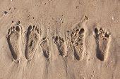 stock photo of footprints sand  - Family footprints on the sand beach in Side Turkey - JPG