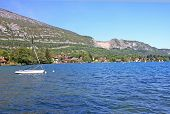 image of annecy  - yacht moored on Lake Annecy in the French Alps - JPG