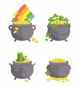 stock photo of pot gold  - Pot with gold set - JPG