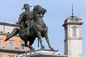 stock photo of battle  - Bronze equestrian statue of the first king of united Italy  - JPG