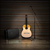picture of acoustic guitar  - Music themed background with acoustic guitar  - JPG