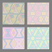 pic of color geometric shape  - Set of 4 ethnic abstract geometric patterns - JPG