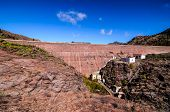 foto of dam  - Artificial Lake Water Dam in the Canary Islands Gran Canaria - JPG