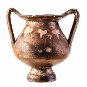 foto of pottery  - Apulian pottery ancient Daunian kantharos from Venosa isolated over a white background - JPG