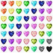 picture of peridot  - Seamless pattern of colored heart cut gems isolated on white background vector illustration - JPG