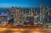 stock photo of marina  - Dubai Marina at Blue hour - JPG