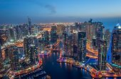 picture of dubai  - A skyline panoramic view of Dubai Marina showing the Marina and Jumeirah Beach Residence - JPG