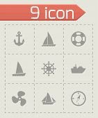 picture of viking ship  - Vector ship and boat icon set on grey background - JPG