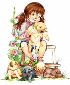 pic of fluffy puppy  - Little Girl and puppy dog - JPG