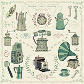 image of kettles  - Vintage Colorful Hand Drawn Doodle Icons - JPG
