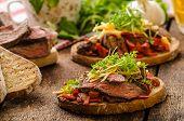 pic of cheese-steak  - Devilish fried bread with peppers chilli and beef steak topped cheddar cheese and microgreens with czech beer - JPG