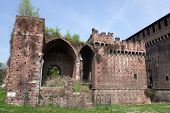 image of fortified wall  - Porta Vercellina at Castello Sforzesco in Milan.  Only ruins remain of the great fortified structure that once protected the gate of Santo Spirito. - JPG