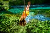 picture of sulky  - Happy young woman swinging with bungee above the river in the forest - JPG