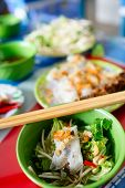 picture of rice noodles  - Vietnamese Rolled Cake And Rice Noodles With Grilled Meat - JPG
