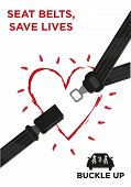 stock photo of seatbelt  - Seatbelt strap with a glowing heart and a family on a car wearing safety belts - JPG