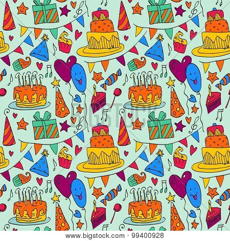 Happy Birthday  background with cakes on wooden table.