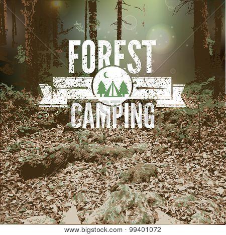 Vector blurred landscape,  forest, eco badge, ecology label,