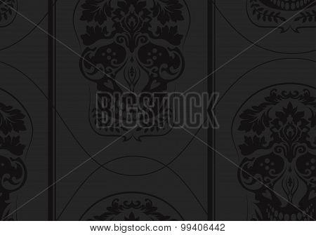 Black Leafs Skull Damask Pattern
