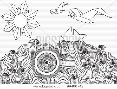 Paper ship and sun with doodle sea waves and seagulls