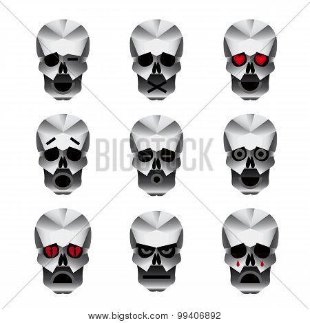 Happy Skull Emotion Icons Set
