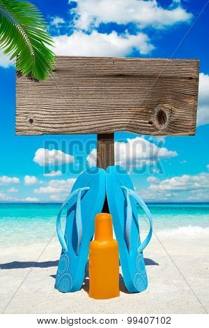 Wooden Signboard Under Palm Frond