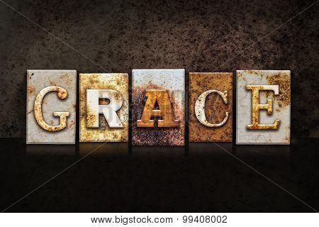 Grace Letterpress Concept On Dark Background