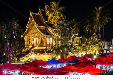 Buddhist Temple in the night, Luang Prabang, Laos