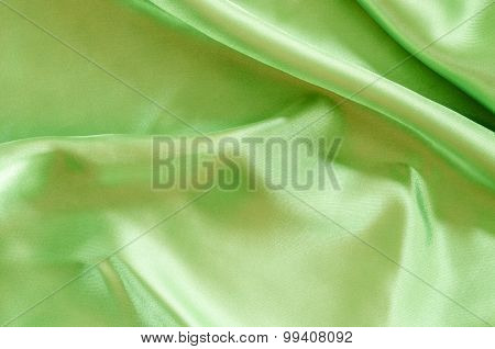 Green Silk Fabric Texture.