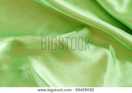 Green Silk Fabric Texture.