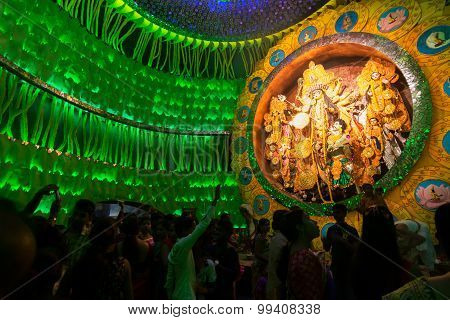 Priest Praying To Goddesss Durga, Durga Puja Festival, Kolkata, India