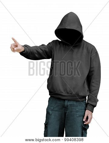 Man In Hoodie Pointing Something