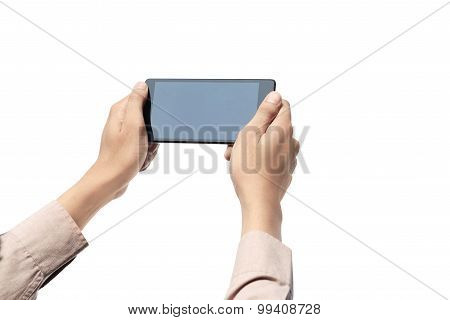 Hand Holding Cellphone With Blank Screen Isolated Over White Background