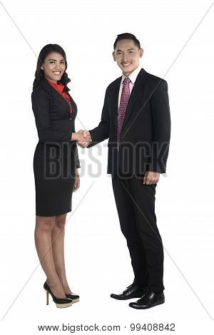 Business Man And Woman Shake Hand