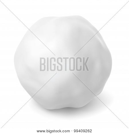 Snowball With Shadow Isolated On White