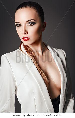 Studio Fashion Shot: Beautiful Young Girl In White Jacket