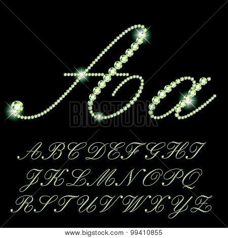 vector detailed script alphabet with emerald rocks